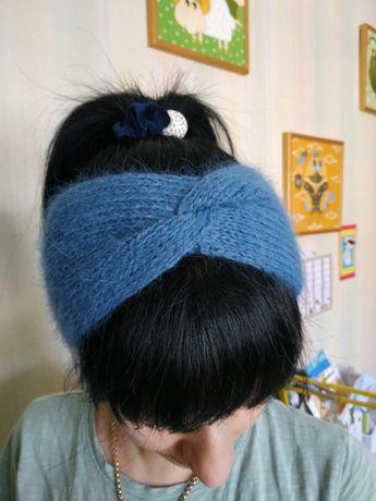 Красивая Повязка на голову с ангорского кролика. Готовим подарки!
