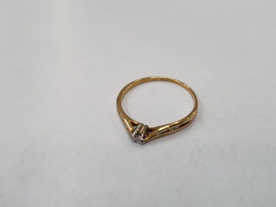 Piękny złoty pierścionek damski/ 585/ 9 brylantów/ 1.2 gram/ R16 Gdynia - image 1