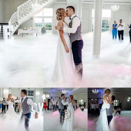 Cieżki dym (taniec w chmurach) napis Love, Bańki, Fontanna Iskier, Dj