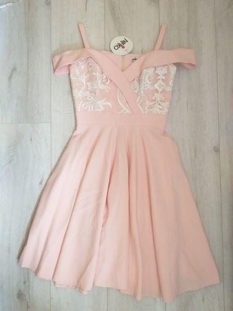Nowa rozkloszowana sukienka z koronką