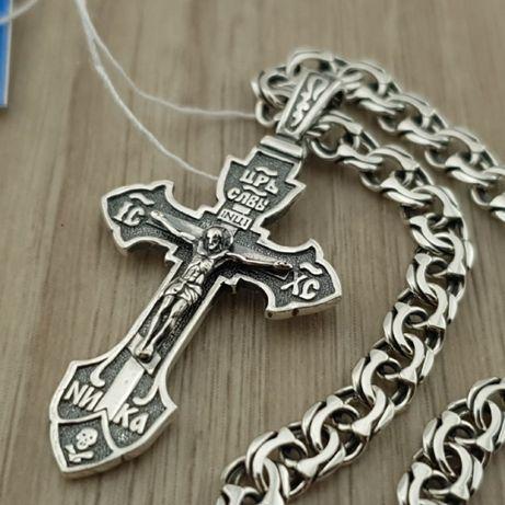Мужская серебряная цепочка и кулон. Крестик с неподвижным ушком и цепь