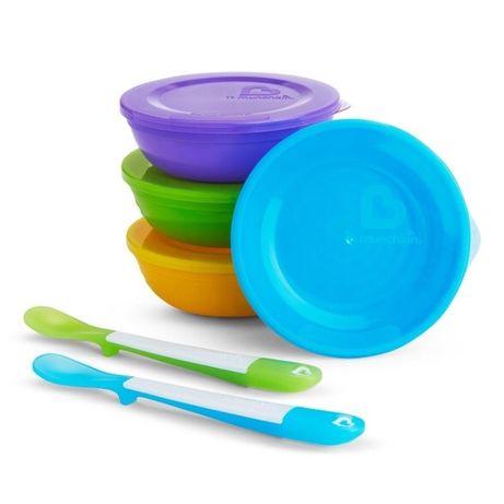 Набор munchkin миска с крышкой 4 шт + ложка 2 шт разноцветный
