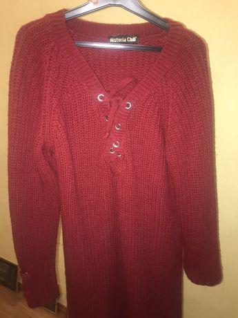 Продам теплое платье бордового цвета