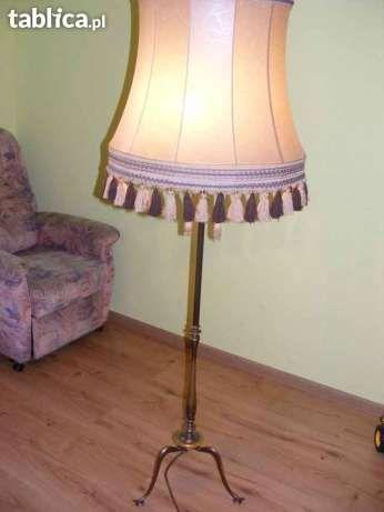 Lampa stojąca-stojak mosiężny.