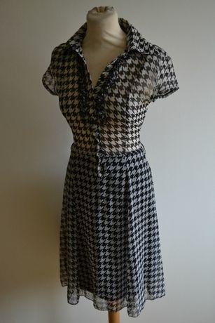 Szyfon sukienka kratka pepitka Atmosphere Rozkloszowana 34 36 38 Zara