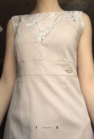 бежевое платье с кружевами размер M летнее платье