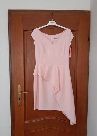 Sukienka NOWA na wesele 38 40   różowa pudrowy jasny róż falbanka