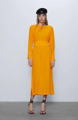 Оригинальное желтое платье миди zara