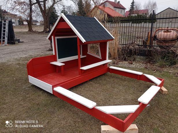 Drewniana Piaskownica z domkiem. Realizacja na 2022
