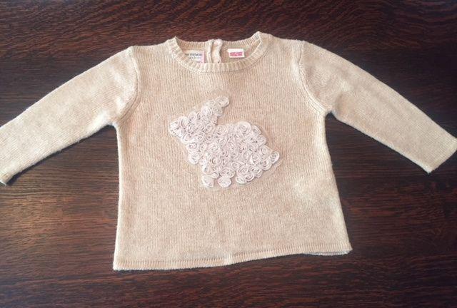 sweterek sweter Zara królik 80 przepiękny