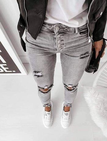 Nowe spodnie jeansy jeansowe dżinsy 40 szare z dziurami dziury