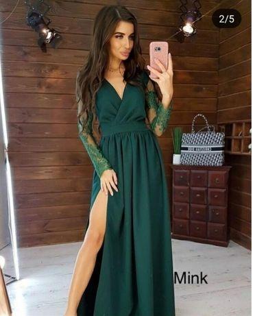 Нарядное платье в пол в изумрудном цвете