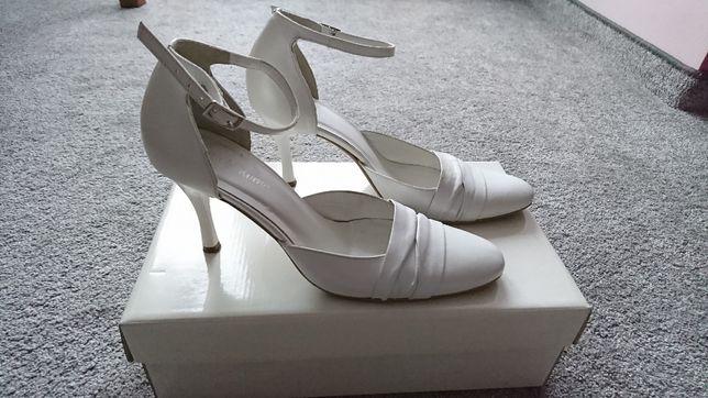 Ślubne buty skórzane Arte di Roma rozm. 36, białe perłowe