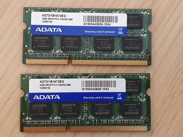 Pamięć DDR3 ADATA 2GB 2Rx8 PC3-10600S-999 - 4GB (2x2GB)