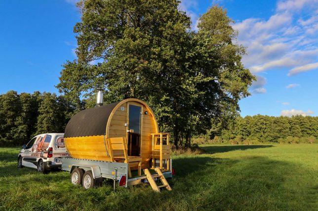 Sauna mobilna wynajem elektryczna lub opalana drewnem GORĄCE BECZKI
