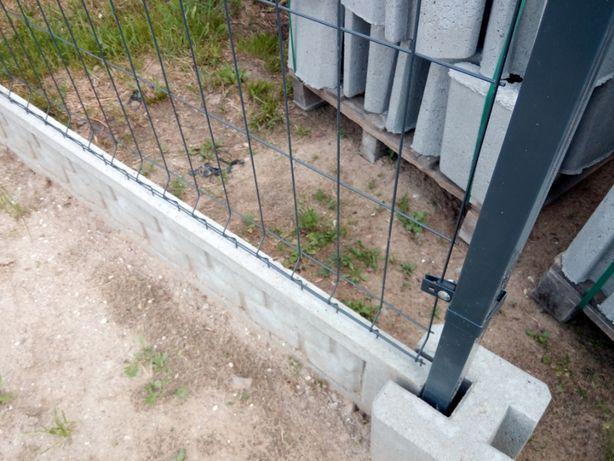 Panel ogrodzeniowy, słupek, podmurówka, łącznik, obejmy.
