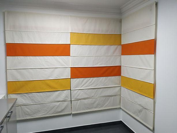 Conjunto de cortinas de cozinha com sistema de calhas