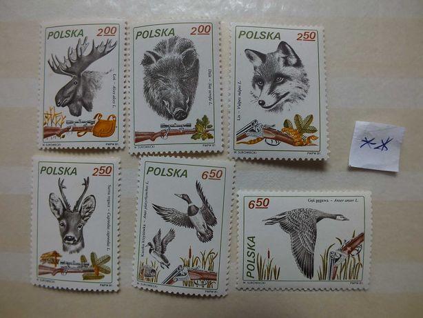 znaczki Fi2602/2607 Polska 1981r.,ZWIERZĘTA Łowiectwo stan** czyste
