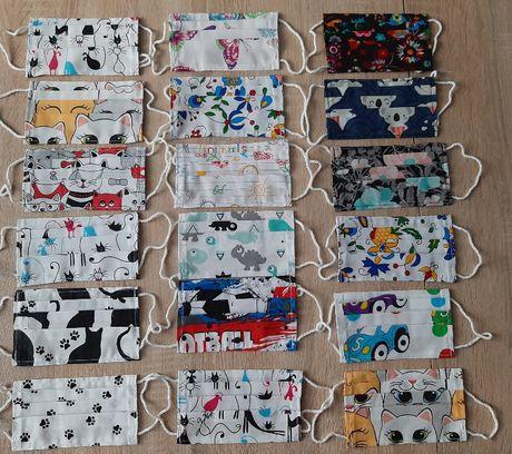 Maseczki bawełniane dziecięce różne wzory i kolory