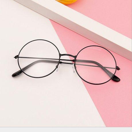 Очки имиджевые нулевки круглые с прозрачными стеклами Черные