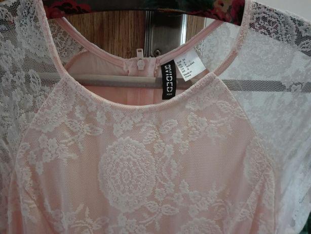 NOWA Łososiowa koronkowa sukienka rozmiar S
