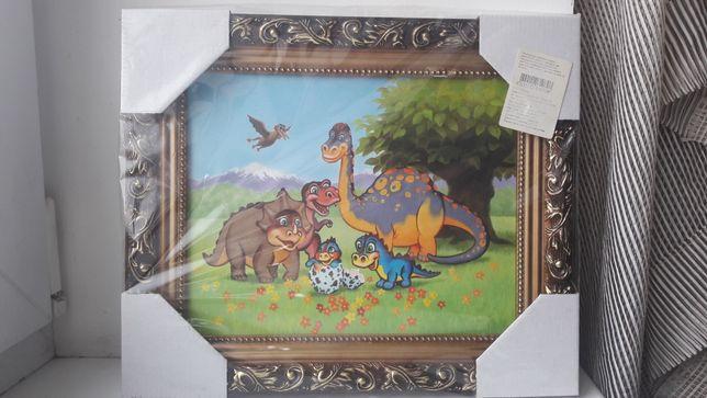 """Очень яркая картина """"Динозавры"""" в шикарной раме 25*20"""