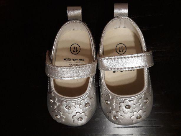 Buciki niemowlęce srebrne rozmiar 17 (Coolclub Newborn )