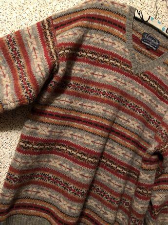 Duży, wełniany męski sweter, w stylu vintage