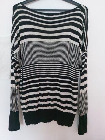Sweter Tunika r XL (42) Nietoperz Biały Czarny Oversize Sweterek Pasy