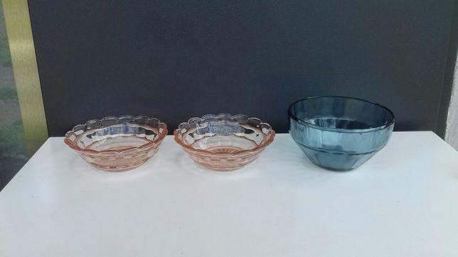 Miseczki/salaterki/szkło różowe/łososiowe/niebieska