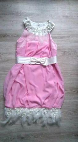 Sukienka bombka weselna piórka Różowa sukienka Sukienka na wesele