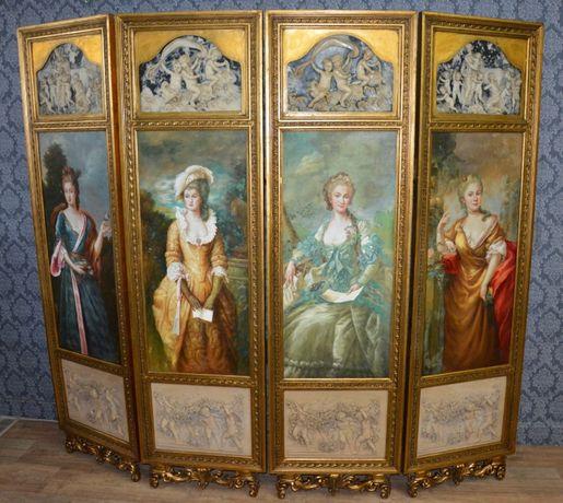Biombo de madeira com pinturas pintadas de senhoras