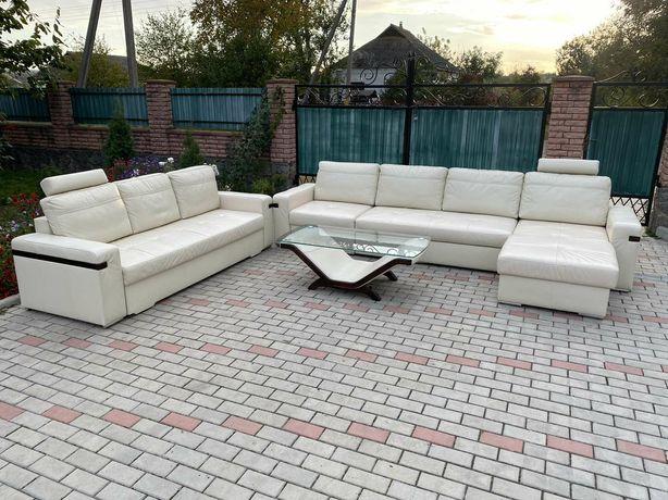 Кожаный Шкіряний комплект диван , уголок + стол !!!