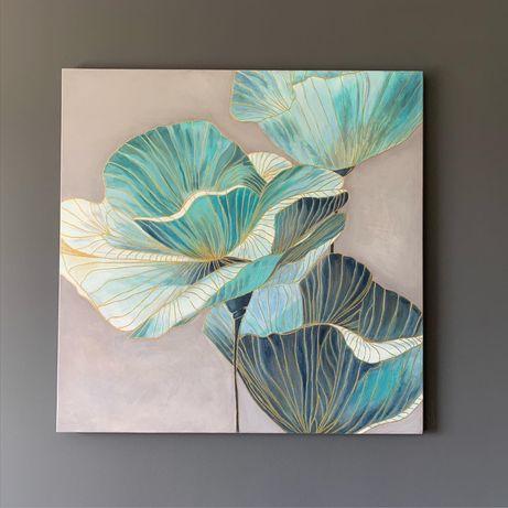 Интерьерная картина, 80*80, акрил, золотой контур, цветы
