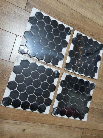 Mozaika kafelki płytki czarne ozdobne sześciokąty, ule (4 plastry)