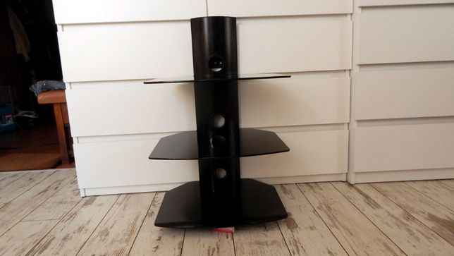 Półka ścienna potrójna na DVD/tuner, maksymalny udźwig do 30kg, szkło