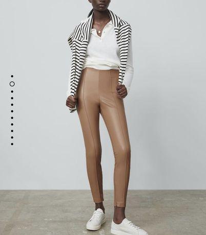 Кожаные леггинсы лосины штаны под кожу бежевые Зара Zara S