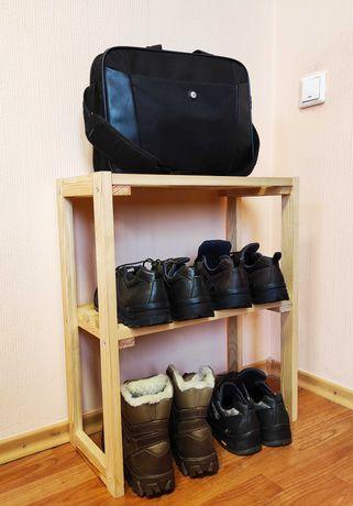 Полка этажерка для обуви на 2 полки деревянная