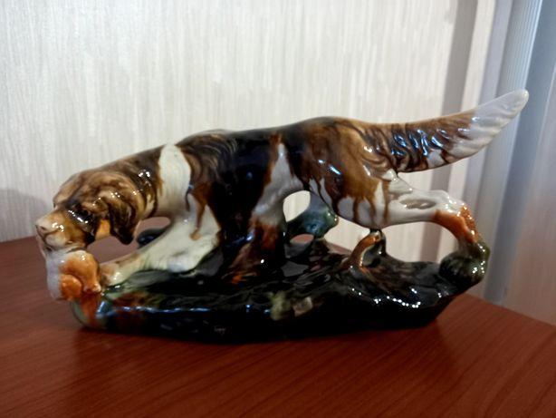 """Фарфоровая статуэтка """"Собака на охоте"""" в отличном состоянии"""