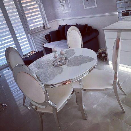 Stół z krzesłami glamour