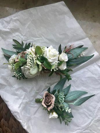 Grzebyk ślubny + butonierka, wpinka, kwiat do butonierki