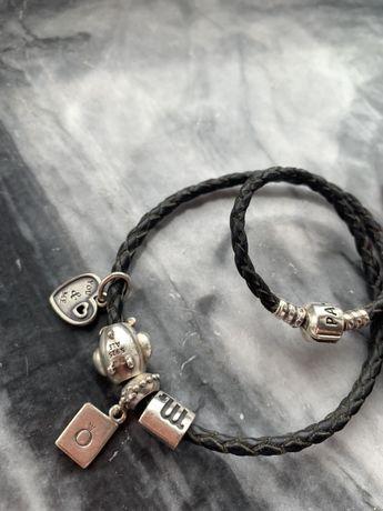 Pandora pulseira em pele