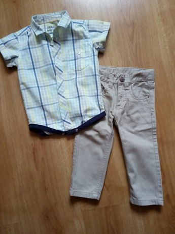 Koszulobody, koszula, body, spodnie 80 elegancki komplet, zestaw