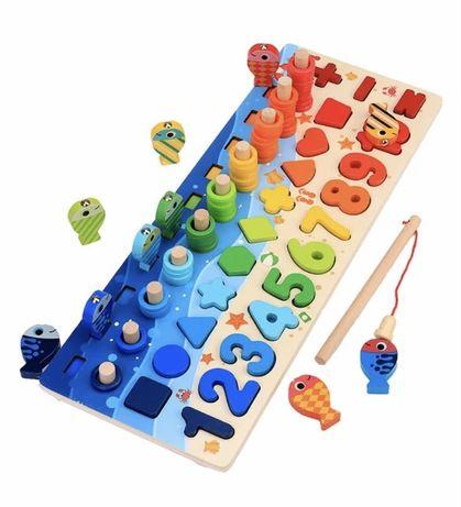 Детская деревянная развивающая игрушка геометрика рыбалка Монтессори п