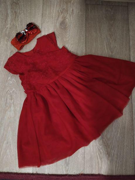 Платье красное мама дочка family look плаття червоне