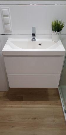 Szafka z umywalką 60x31 cm biały połysk