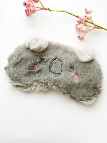 Плющевая маска на глаза для сна от света серая коала меховая