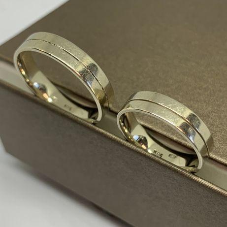 Komplet obrączek ślubnych z białego złota p585 roz. 25 i 14