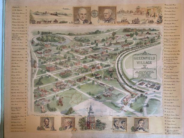 quadro-gravura vintage map of greenfield village