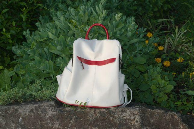 Женский рюкзак белый городской школьный